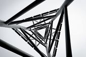 technology abstract metal structure - black and white poster