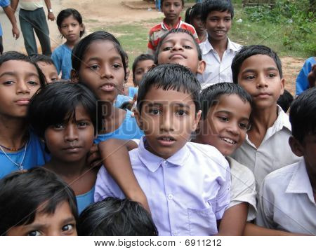 Curious Indian School Children
