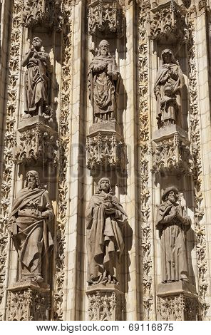 Sculptures In Seville Cathedral Close Up