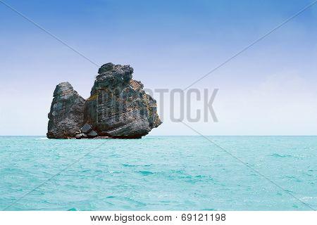 Monkey island against blue sky