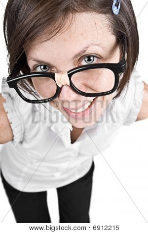 Cute Nerdy Female In Thick Rimmed Glasses