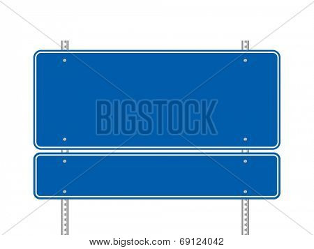 Blank blue road signs vector illustration