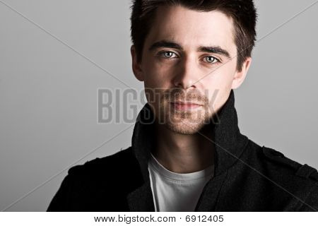 Handsome Dark Haired Male With Goatee Beard