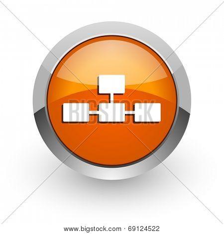 database orange glossy web icon
