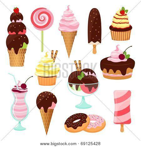 Pastries  cakes and ice cream icon set