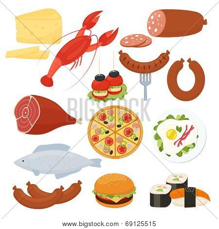 Traditional food icons for a menu