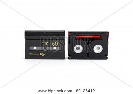 Mini Dv Cassettes Isolated On White Background