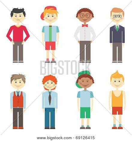Set of boys in casual  smart and sports clothes