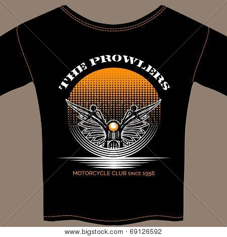 T-shirt template for motorcycle club member with a winged motorcycle handlebars and lamp over a graduated circular orange dotted background with text - The Prowlers - Motorcycle Club poster