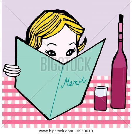 girl with menu card vector illustration cartoon retro