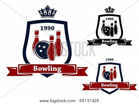 Three bowling badges or emblems