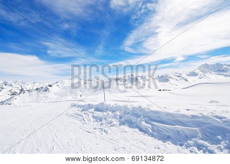 Snow Skiing Andscape In Paradiski Area, France