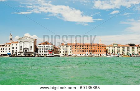 view on Venice city with facade of Ospedale della Pieta Italy in summer day poster