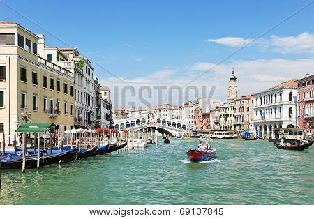 Grand Canal Near Rialto Bridge In Venice