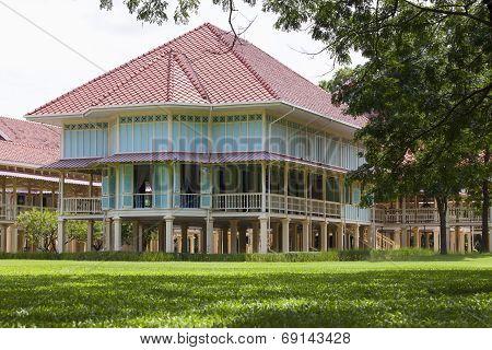 Beautiful Landscape Scene Of Marukhathaiyawan Palace Most Dazzle Wood Palace House In Cha-am Petchab