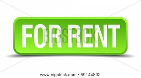 For Rent Green 3D Realistic Square Isolated Button