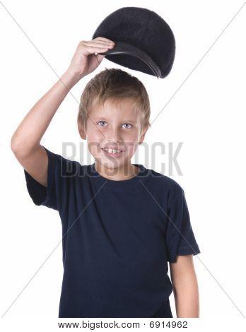 Caucasian Boy Wearing Ball Cap