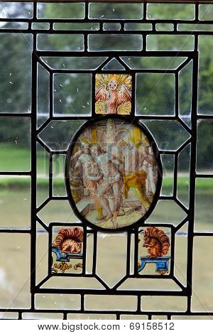 Stained glass in castle of Azay-le-Rideau. Loire Valley France