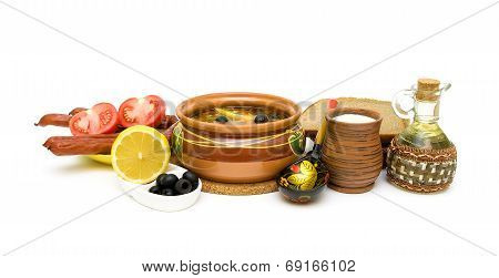 Russian Cuisine: Soup Thistle And Other Food On A White Background.