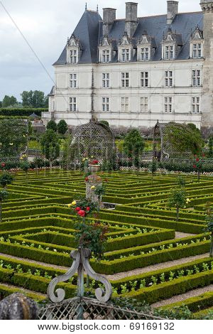 garden in Chateau de Villandry. Loire Valley France