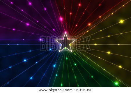 Star With Rainbow Rays
