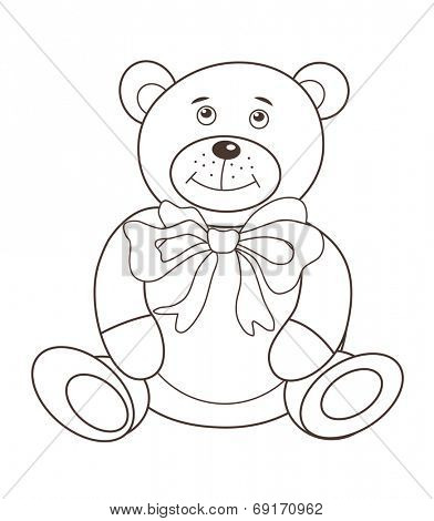 Cute plush toy teddy bear (vector illustration)