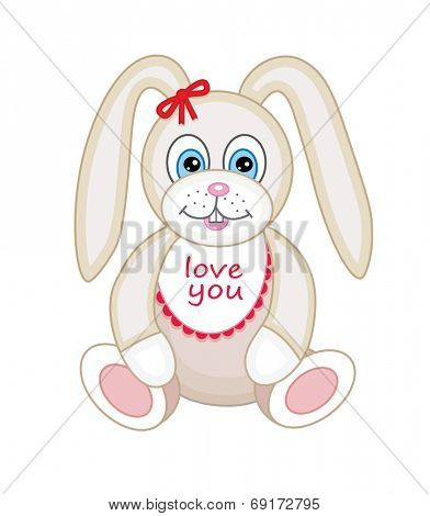 Cute plush toy bunny (vector illustration) poster