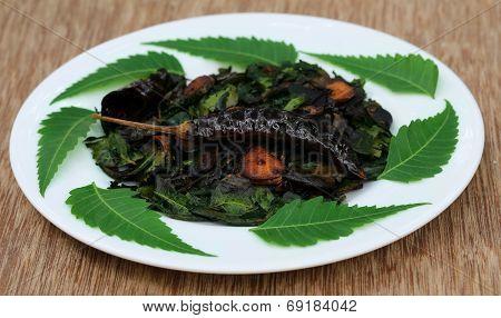 Fried Neem Leaves