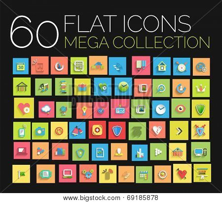 Flat icons mega collection. Universal vector design kit - 60 items