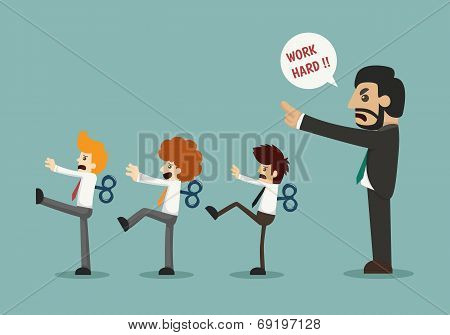 Businessmen With Wind-up Key