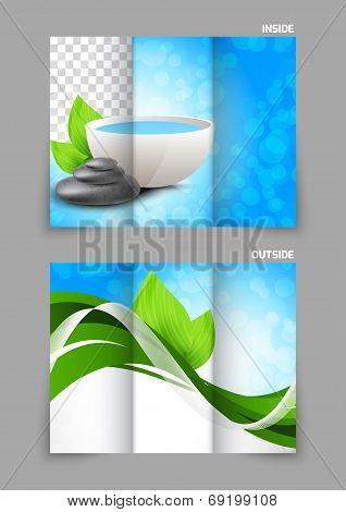poster of Spa salon beauty tri-fold brochure design with leaves bowl and stones