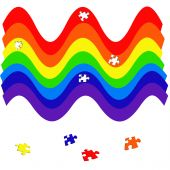 colorful  rainbow puzzle on white background illustration poster