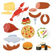 Set of traditional vector food icons for a menu with a lobster  salami  pizza  cheeseburger  roast meat  fried eggs  sausage  fish  sushi  seafood  cheese and canape appetizers poster