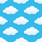Seamless pattern of white and fluffy clouds in blue sky suitable for children's wallpapers, tiles, textile and design in square format poster