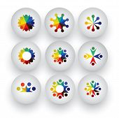 colorful people children employees icons collection set - vector graphic. This illustration also represents love unity solidarity alliance union teamwork organization together group team poster