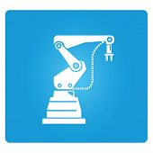 robotic arm, industrial robot in blue button poster
