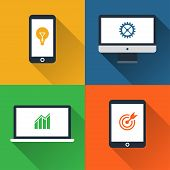 Flat design long shadow styled modern vector icon set of gadgets and devices poster