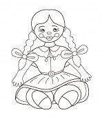 Cute beautiful doll (vector illustration) poster
