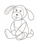 Cute plush toy puppy (vector illustration) poster