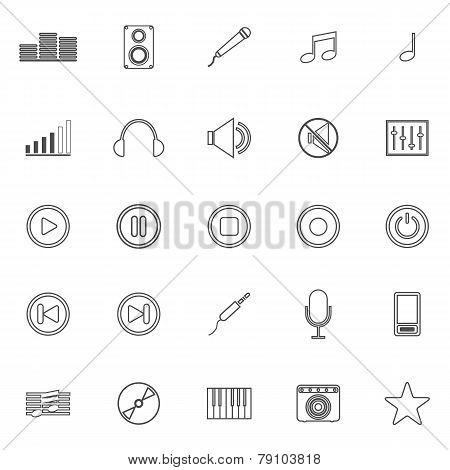 Music Line Icons On White Background