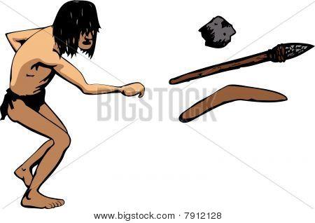 caveman throws a weapon