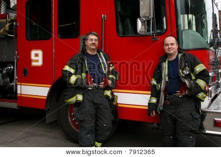 Two Firefighters with Fire Truck