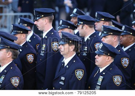 NYPD officers outside church