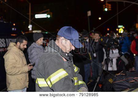 FDNY firefighter at memorial