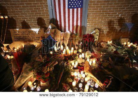 Shadows of people at memorial