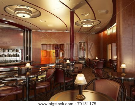 Classy upscale restaurant interior with bar. Photo realistic 3d rendering