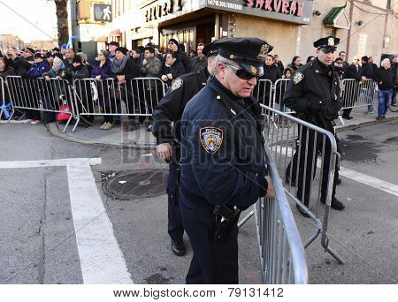 Setting up additional crowd control barriers