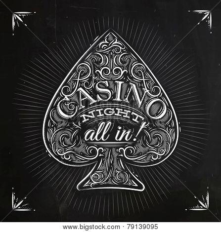Spades casino night chalk