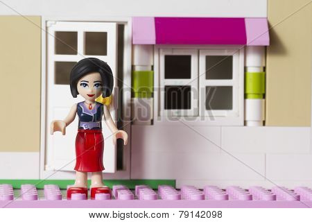 Riga, Latvia - December 30th, 2014: Lego Friends girl figure. Friends is a product range of the Lego