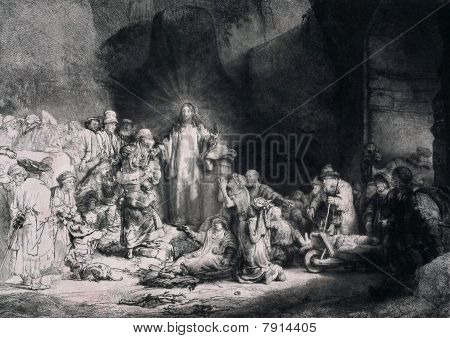 Engraving Of Jesus Christ Preaching